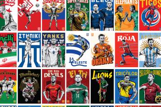 Les 32 équipes de la Coupe du Monde en illustration